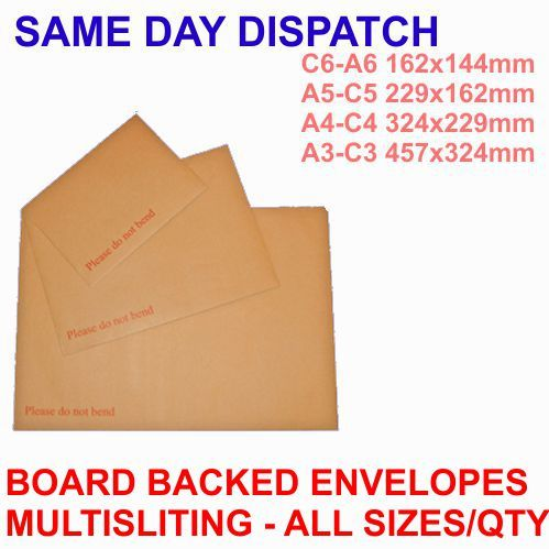 250x C4 324x229mm Board backed envelopes